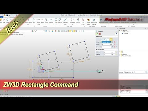 ZW3D Rectangle Command Basic Tutorial For Beginner