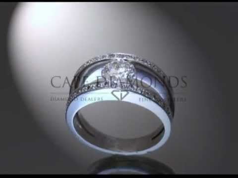 Split band ring,round diamond,side stones,engagement ring