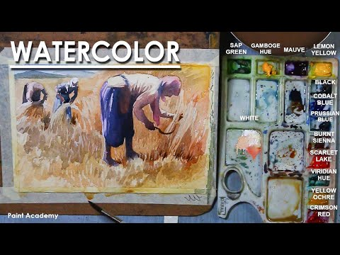 Watercolor Painting : A Composition on Farmers Harvesting Paddy