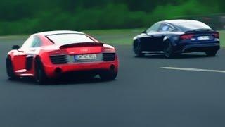 Audi RS7 vs Audi R8 V10 Plus Race Rennen Acceleration V8 Sound V10 Sound