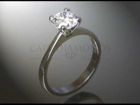 Solitaire ring,platinum,round diamond,plain band,engagement ring
