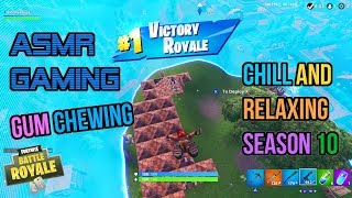 ASMR Gaming | Fortnite Chill Relaxing Season 10 Win Gum Chewing 🎮🎧Controller Sounds + Whispering😴💤