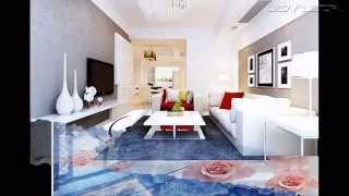 Gạch 3D lót sàn phòng khách