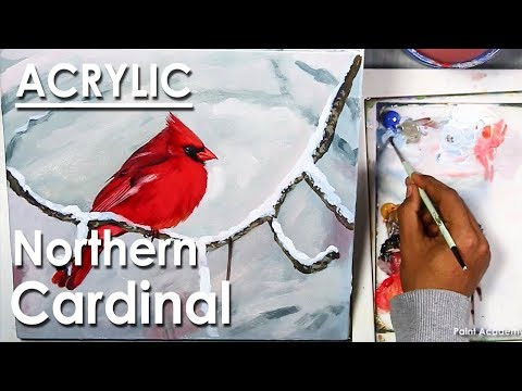 Winter Northern Cardinal Acrylic Painting step by step