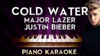 Major Lazer - Cold Water (ft.Justin Bieber & MØ)   HIGHER Key Piano Karaoke Instrumental Lyrics