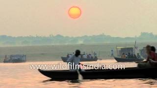 Boat ride over the waters of Ganges river - Varanasi