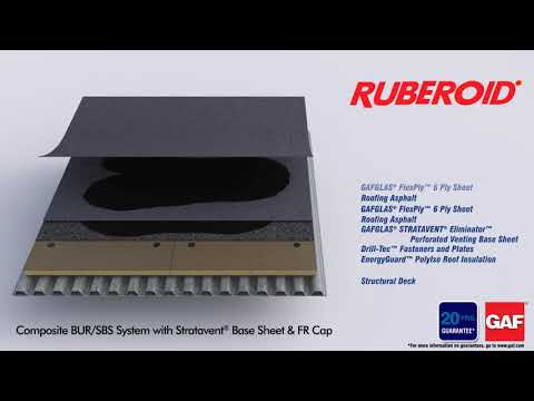 Ruberoid Composite BUR/SBS System with Stratavent Base Sheet & FR Cap by GAF