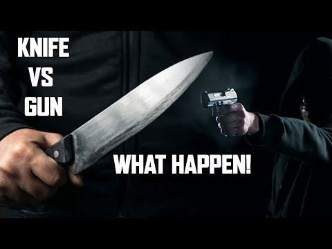 Knife Vs Gun What do you think will happen in a real life situation?