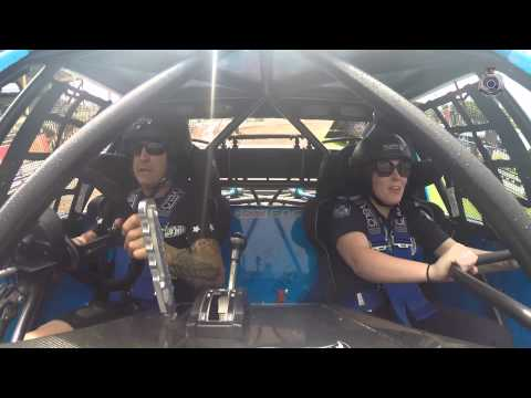 Constable Eloise Down goes for a spin with Aussie stunt driver Matt Mingay