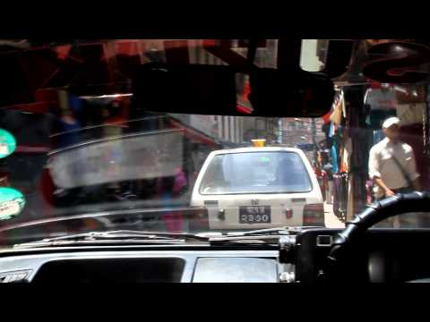 Taxi drive through the Thamel district of Kathmandu, Nepal