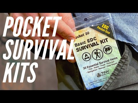 2 EDC Survival Kits: 30 & 45 Item Survival Kits   Fire Steel, Water, Matches, Whistle, & More