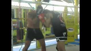 Carbognani Cristian. Boxe sparring at the Lion Gym Muay-Thai in Rawai. Phuket. Thailand.