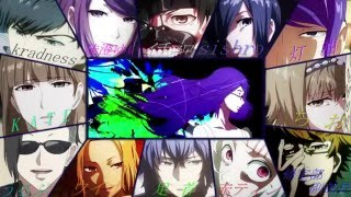 Tokyo Ghoul all Characters singing Opening song Unravel   TK from Ling Tosite Sigure