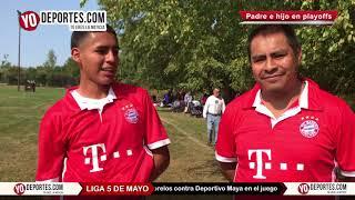 Saul Benitez Jr.  le mete gol al Deportivo Maya en la 5 de Mayo Soccer League