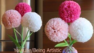 How To Make Round Tissue Paper Flower - DIY Paper Craft width=