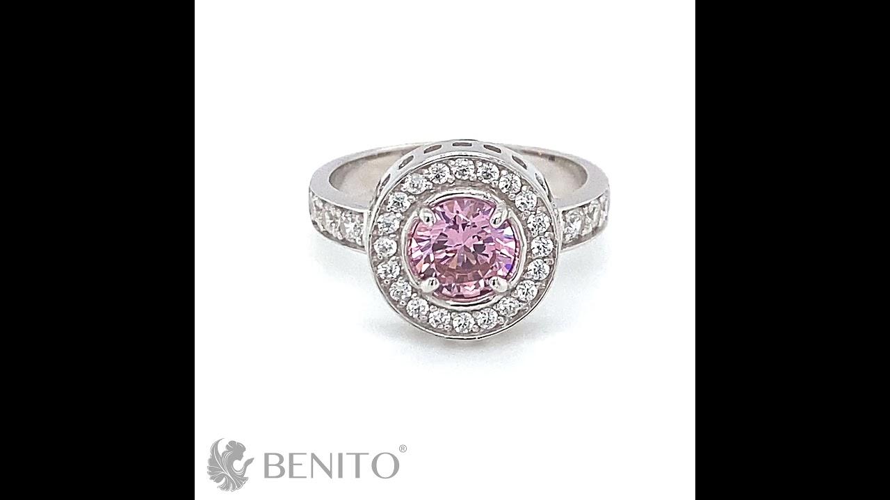 Viola Ring Pink and White Zircon Stones