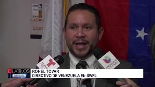 Venezolanos y activistas por los derechos civiles entregan documentos al Rep. Diaz Balart
