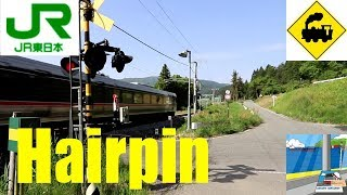 ヘアピンカーブ踏切 JR篠ノ井線Railway crossing JR-Shinonoi line(Nagano japan)