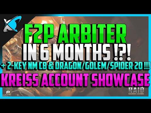 RAID: Shadow Legends | F2P ARBITER IN 6 MONTHS ?!? | Kreiss 100% F2P Account Showcase !!