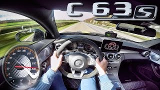 Mercedes AMG C63 S Coupe ACCELERATION & TOP SPEED POV Autobahn by AutoTopNL