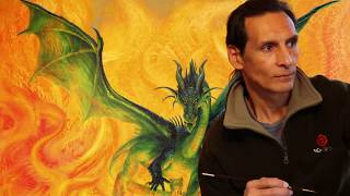 Oil Painting Process by Ciruelo: Tatunka Nara, the Green Fire Dragon