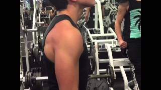 Back & Biceps workout with 14 year old  ft. Alphalete tank