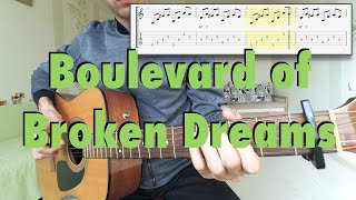 Green Day - Boulevard of Broken Dreams (fingerstyle cover, tabs, lyrics)