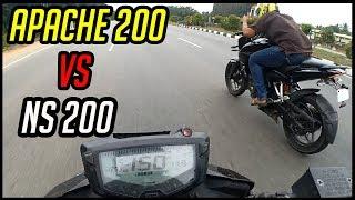 TVS Apache 200 VS Pulsar NS 200 - Drag Race   Highway Battle   Topspeed (150+)