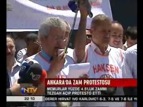 MEMURLAR YÜZDE 4.5'LUK ZAMMI TEZGAH AÇIP PROTESTO ETTİ, ANKARA, 02.07.2009