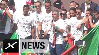 Portugal-Coach Fernando Santos in der Heimat gefeiert | Portugal - Frankreich | EM 2016
