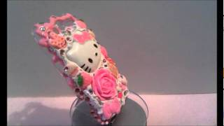 Custom Sweet Tooth Pink Theme Hello Kitty Cream Bling Cover.