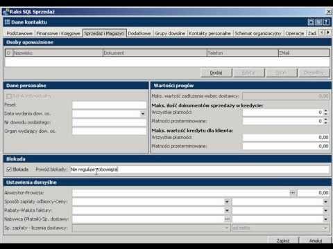 Blokowanie obsługi kontrahenta programu RAKSSQL
