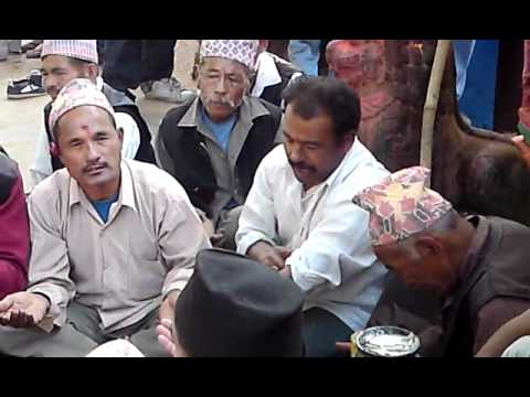 Nepalese traditional musical group (Bhajan Khala ) with Dapakhin  from Phusinkhyo, Kathmandu, Nepal