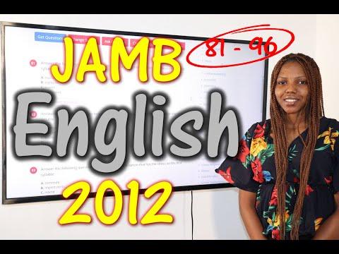 JAMB CBT English 2012 Past Questions 81 - 96