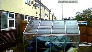 Banana skins throw out next doors own window captured on cctv