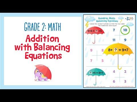 Addition Worksheet: Balancing equations | 2nd Grade Math Worksheets | Kids Academy