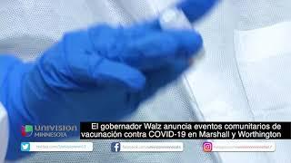Gobernador Walz anuncia eventos comunitarios de vacunación contra COVID-19 en Marshall y Worthington