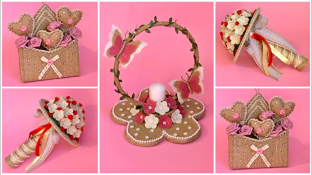 3 DIY Jute Gift Ideas/ Jute Burlap Craft Ideas/ Diy Valentine Gifts