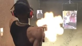 "22 Savage ""Has Better Aim Than 21 Savage Blast Draco Clip At Gun Range"""