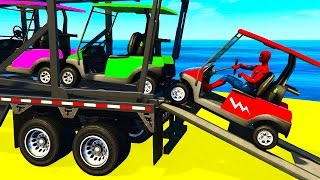 SMALL COLOR CARS Transportation in Spiderman Kids Cartoon w Colors for Children Nursery Rhymes