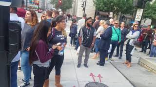 lady Mouthphy performing live in on street of Chicago freestyle Rihanna song Unfaithful