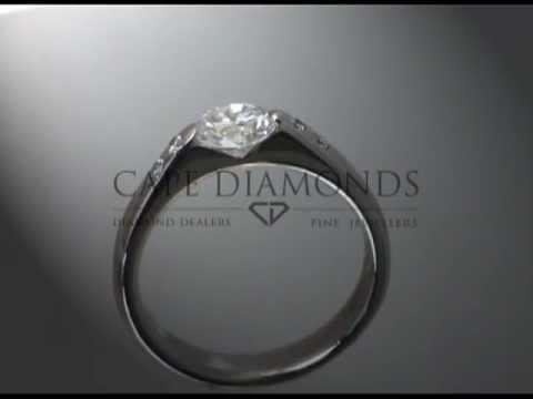 Soul ring,joel graham,ideal cut diamond,platinum,2 side stones,engagement ring