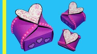 DIY paper crafts idea - Gift box sealed with hearts - gift heart box making ideas / Julia DIY