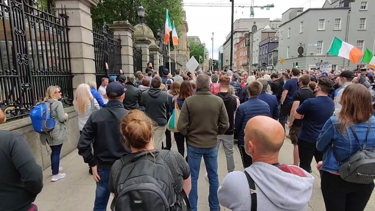 John Connors - Speaks at  Large Demonstration outside Dáil Éireann ( Irish Parliament) 11 July 2020