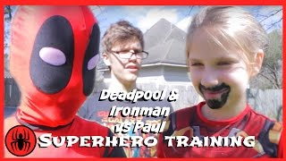 Kid Deadpool & Ironman vs Paul Superhero Training match In Real Life Fun comics film Superhero kids
