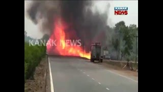 Fire on LPG Gas Tanker