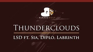 LSD - Thunderclouds ft. Sia, Diplo, Labrinth - HIGHER Key (Piano Karaoke / Sing Along)