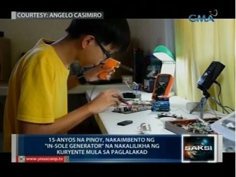 15-anyos na Pinoy, nakaimbento ng 'in-sole generator' na nakalilikha ng kuryente mula sa paglalakad