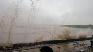 Big Waves destroying Carter Road Promenade