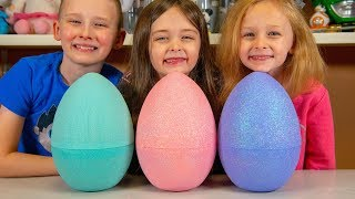 HUGE Toy Surprise Eggs Filled with Blind Bags & Toys for Boys & Girls Family Fun Kinder Playtime
